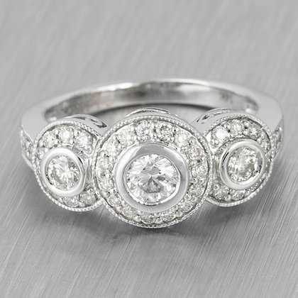 14k White Gold Diamond Halo Band Ring 0.75ctw Size 4.25 by Gabriel & Co.