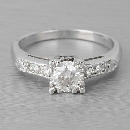 Antique Art Deco 14k White Gold Diamond Bridal Engagement Ring 0.85ctw EGL$5,170