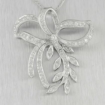 """Antique Art Deco 14k White Gold 0.97ctw Diamond Floral Ribbon Pendant 18"""""""
