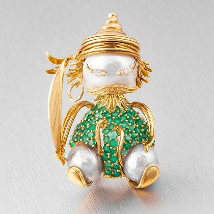 Estate 14k Yellow Gold Diamond Pearl Emerald Samurai Brooch Pin 0.15ctw VINTAGE