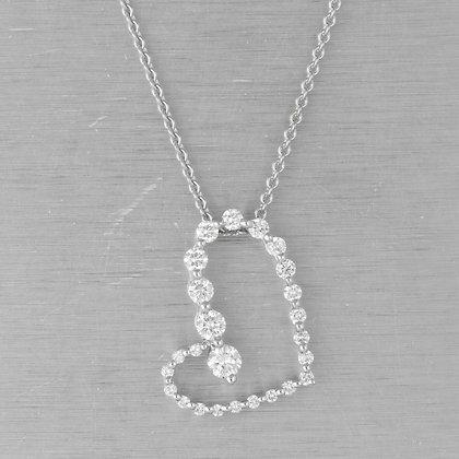 "Movado 18k White Gold Diamond Asymmetrical Graduated Heart Necklace 0.60ctw 16"""