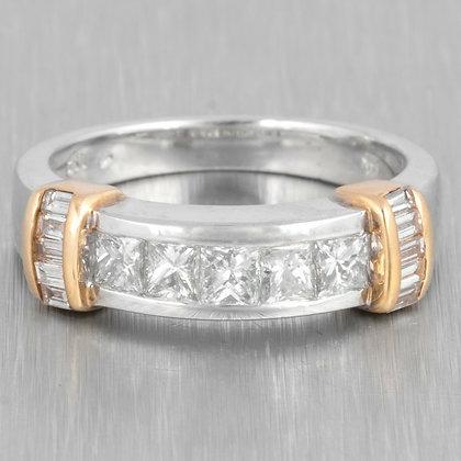 14k White & Yellow Gold Princess & Baguette Cut Diamond Ring 1.00ctw size 7