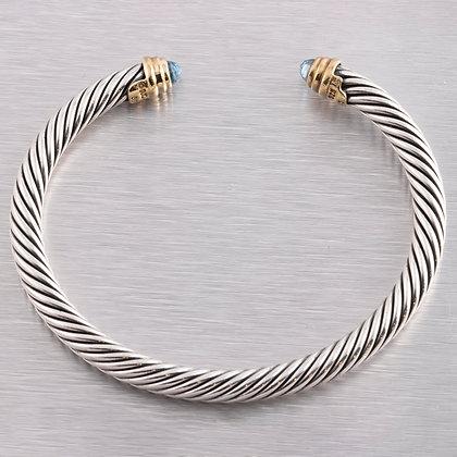 David Yurman 925 Silver & 14k Gold London Blue Topaz Cable Cuff Bracelet 5mm