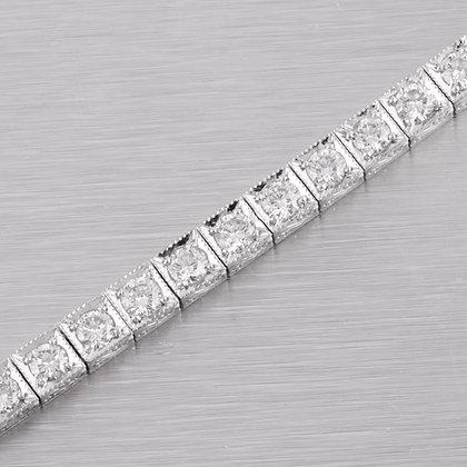 "Platinum 950 40 Stone 4.40mm Diamond Tennis Bracelet 4.50ctw F VS1 - 7"""