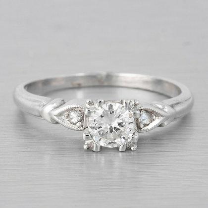 14k White Gold Diamond Bridal Ring G SI1 0.45ctw Size 5.25