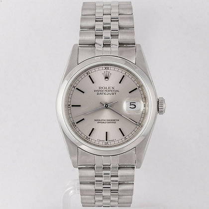 1989 Rolex Datejust Ref.16200 Stainless Steel Silver Baton Dial 36mm Watch