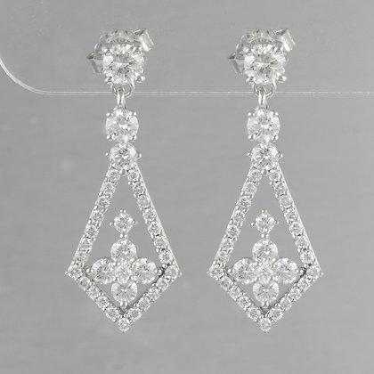 14k White Gold Diamond Dangle Kite Earrings 2.10ctw F COLORLESS VS2