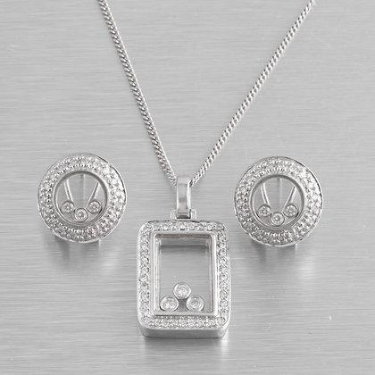 14k White Gold Floating Diamond Necklace & Circlet Earrings Set 1.70ctw F VS2