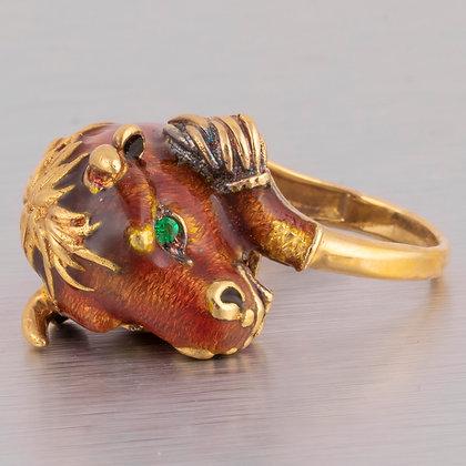 RARE Vintage 1960s Frascarolo 18k Yellow Gold Emerald Red Enamel Bull Ring ITALY