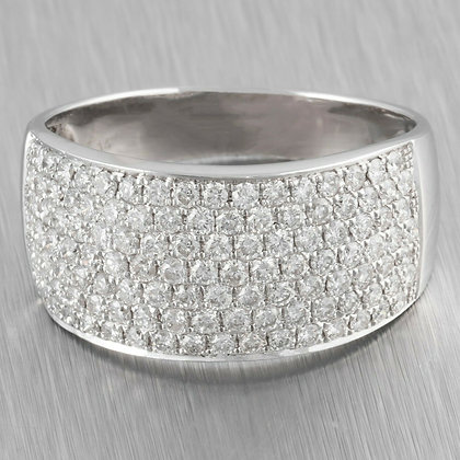 Men's 14k White Gold 7 Row Pave Halfway Diamond Wedding Ring 1.64ctw size 11