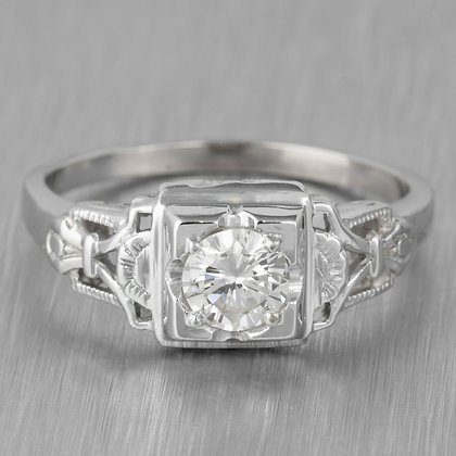 Modern Estate 18k White Gold H-I VS1 Diamond Engagement Ring 0.45ct EGL $2,490