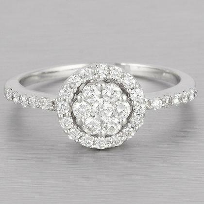Estate 14k White Gold Diamond Cluster Halo Ring 0.43ctw G VS2 Size 6.75