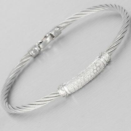 Charriol 18k White Gold & Steel Pave Diamond Cable Bangle Bracelet 0.30ctw