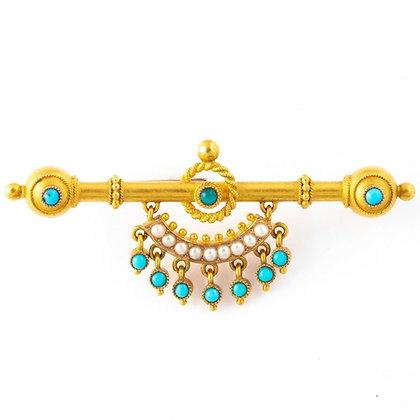 Antique Victorian Etruscan Revival 18k Yellow Gold Turquoise, Pearl Brooch Pin