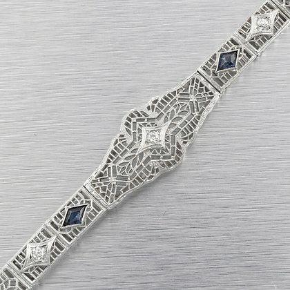 Antique Art Deco 14k White Gold Three Stone Diamond Sapphire Bracelet 0.22ctw