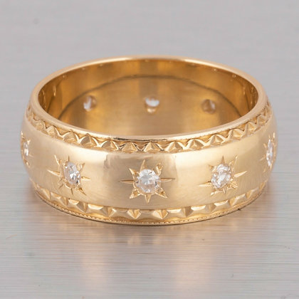 14k Yellow Gold 10 Stone Single Cut Diamond Milgrain Ring 0.36ctw Size 7