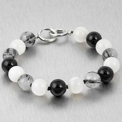 Tiffany & Co. Picasso 925 Sterling Onyx Moonstone Rutilated Quartz Bead Bracelet
