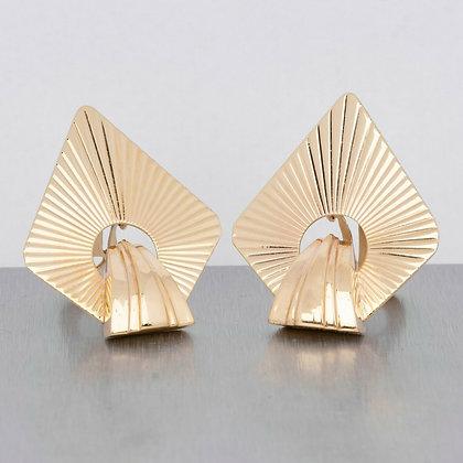 Vintage Retro Estate Tiffany & Co. Solid 14k Yellow Gold Fanned Earrings c. 1970