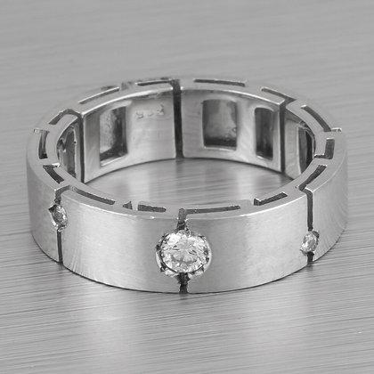 Estate 14k White Gold Modern Linear Matte Diamond 5mm Band 0.30ctw Size 4.25