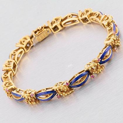 "Vintage Uno AR 18k Yellow Gold Pink Sapphire Blue Enamel Bracelet 7.25"" 1AR"