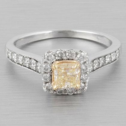 14k White Gold Princess Cut Fancy Yellow Diamond Halo Ring 0.75ctw sz 6.75