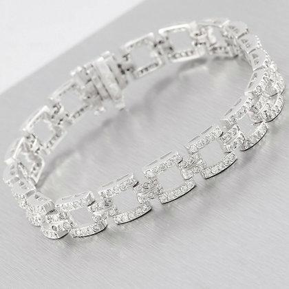 "Vintage Estate 14k White Gold 2.50ctw Diamond Cocktail Bracelet 6.75"" 21.8g"