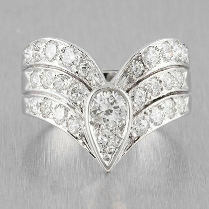Modern Estate 14k White Gold Diamond Teardrop Ring 1.50ctw Size 7.25