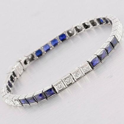 "14k White Gold French Cut Sapphire & Diamond Tennis Bracelet 1.20ctw 7"""