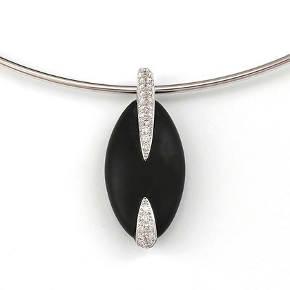 "Movado 18k White Gold Diamond Riverstone Pebble Wire Choker Necklace 16"" 0.35ctw"