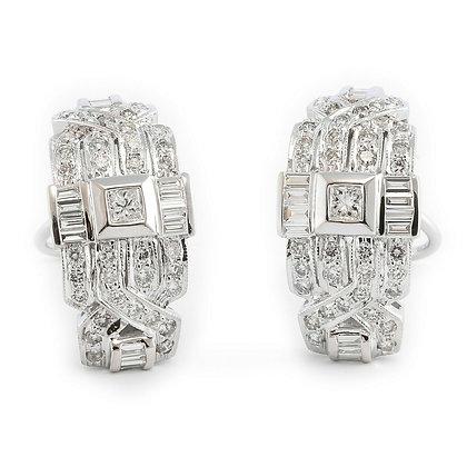 Modern Estate 18k White Gold G VS2 Diamond J Hoop Earrings 1.87ctw