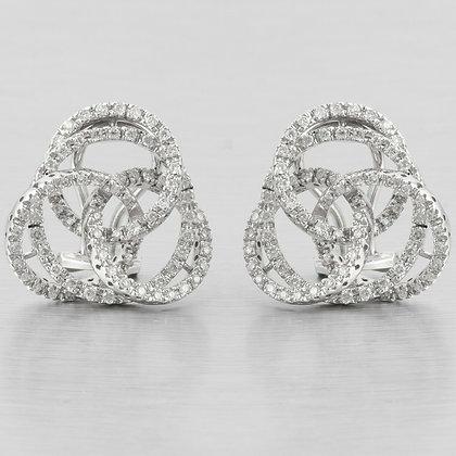 14k White Gold Diamond Celtic Knot Swirl Circle Omegaback Earrings 1.15ctw