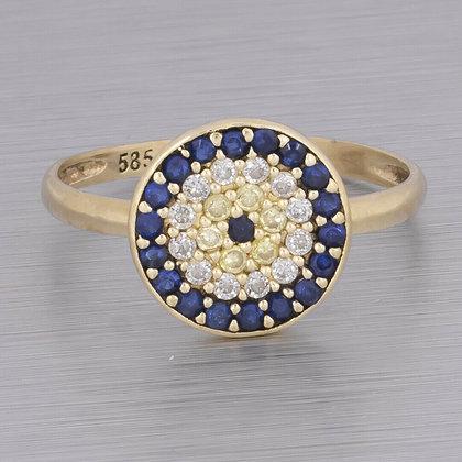 Estate 14k Yellow Gold CZ Yellow & Blue Sapphire Evil Eye Ring 0.36ctw Size 6.5