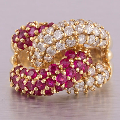 Vintage 14k Yellow Gold Pave Diamond Ruby Cuban Link Ring 1.15ctw