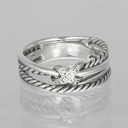 David Yurman 925 Sterling Diamond Cable Crossover X Ring 0.05ctw size 6.75