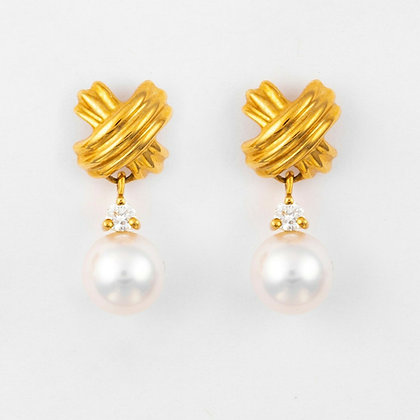 "Tiffany & Co 18k Gold SIGNATURE ""X"" Pearl Diamond Dangle Earrings RARE"
