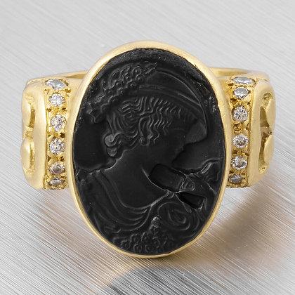 1987 Vahe Naltchayan 18k Yellow Gold Diamond Onyx Intaglio Lady Ring 0.20ctw