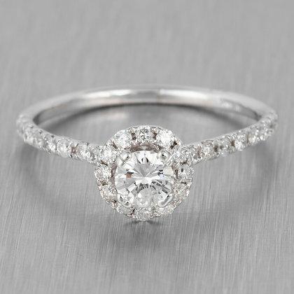 Modern Estate 14k White Gold Diamond Halo Engagement Ring 0.66ctw Size 6