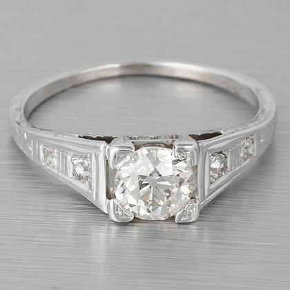 1930's Antique Art Deco 18k White Gold Diamond Engagement Ring 0.76ctw EGL
