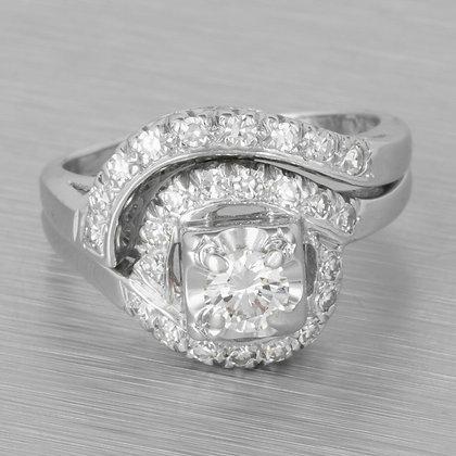 Modern Estate 14k White Gold Diamond Two Row Halo Swirl Ring 0.60ctw