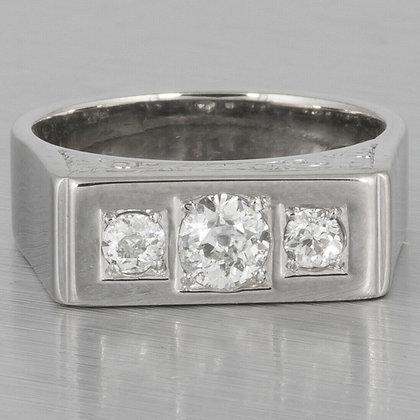 Antique Art Deco 14k White Gold Three Stone Engraved Diamond Ring 0.75ctw sz7.25