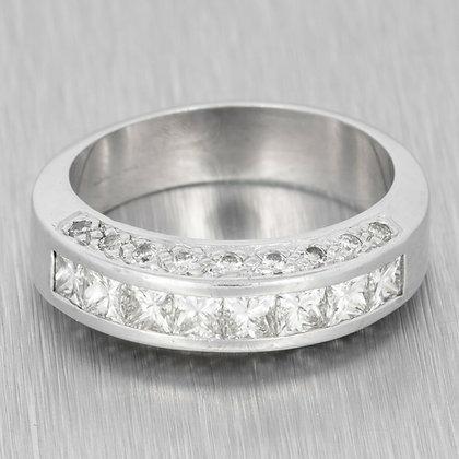 18k White Gold Princess Cut Diamond 3 Section Bridal Band 1.70ctw Ring Size 7.75