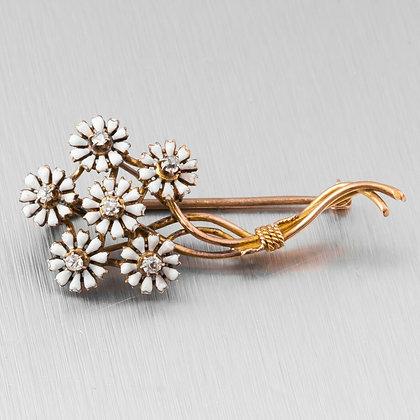 Antique Estate 14k Yellow Gold Old Mine Diamond & White Enamel Flower 0.15ctw