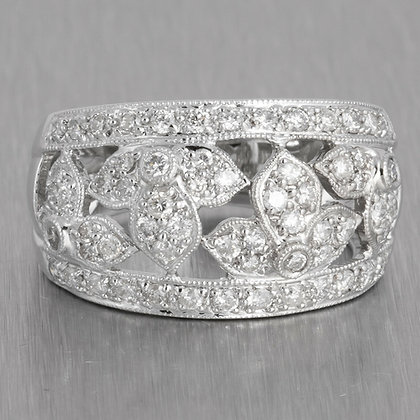 Estate 18k White Gold Diamond Wide Floral Motif Band 0.60ctw Ring Size 5.5