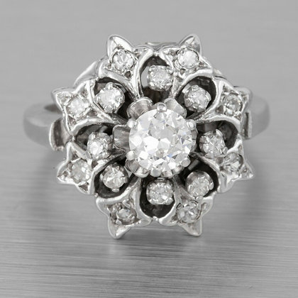 Antique 14k White Gold Old European Cut 0.39ct Diamond Flower Ring 0.59ctw EGL