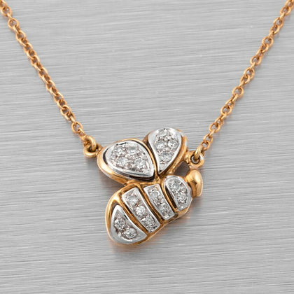 "18k White & Yellow Gold Bumble Bee Diamond Pendant Necklace 0.25ctw 16.5"" ITALY"