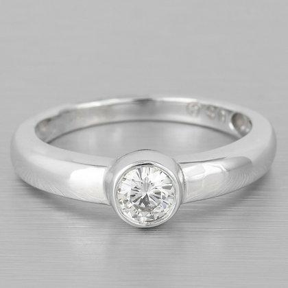 14k White Gold Bezel Set Round Diamond Solitaire Bridal Ring 0.45ct Size 7