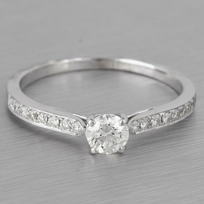 18k White Gold Round Diamond Solitaire w/ accents Bridal Ring 0.45ctw Size 8