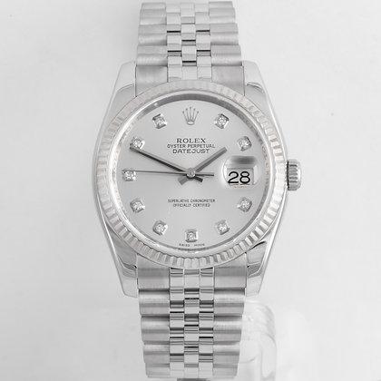 2010 Rolex DateJust R.116234 Stainless & 18k Gold Bezel Diamond Dial 36mm Watch