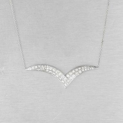 """Estate 14k White Gold Diamond Chevron Pendant Necklace 17.5"""" 1.03ctw VINTAGE"""