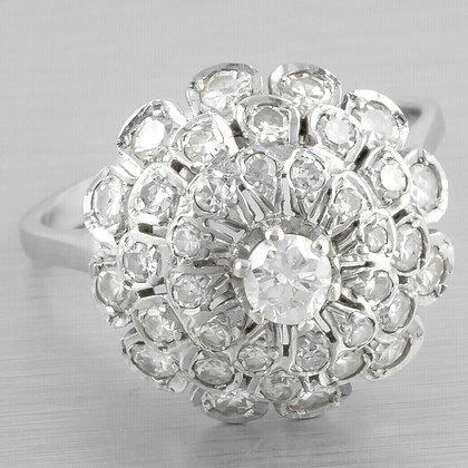 Antique Art Deco 14k White Gold Diamond Triple Tiered Halo Cocktail Ring 0.60ctw